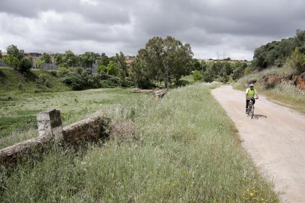 Un ciclista por uno de los accesos al Parque del Principe cercanos al R-66. :: lorenzo cordero/