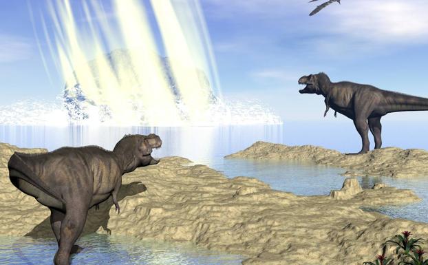 Recreación del impacto ante varios dinosaurios. /