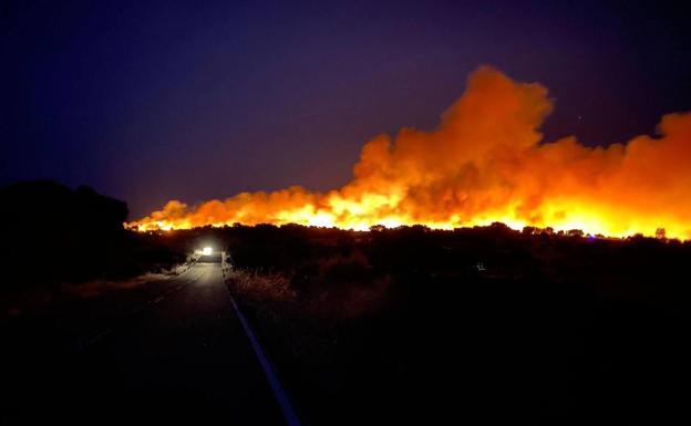 Un incendio en Cilleros, aún activo, ya ha arrasado 85 hectáreas