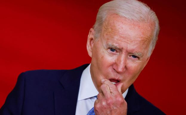 Ang Pangulo ng Estados Unidos, si Joe Biden, sa kanyang talumpati ngayong Martes.  / Reuters