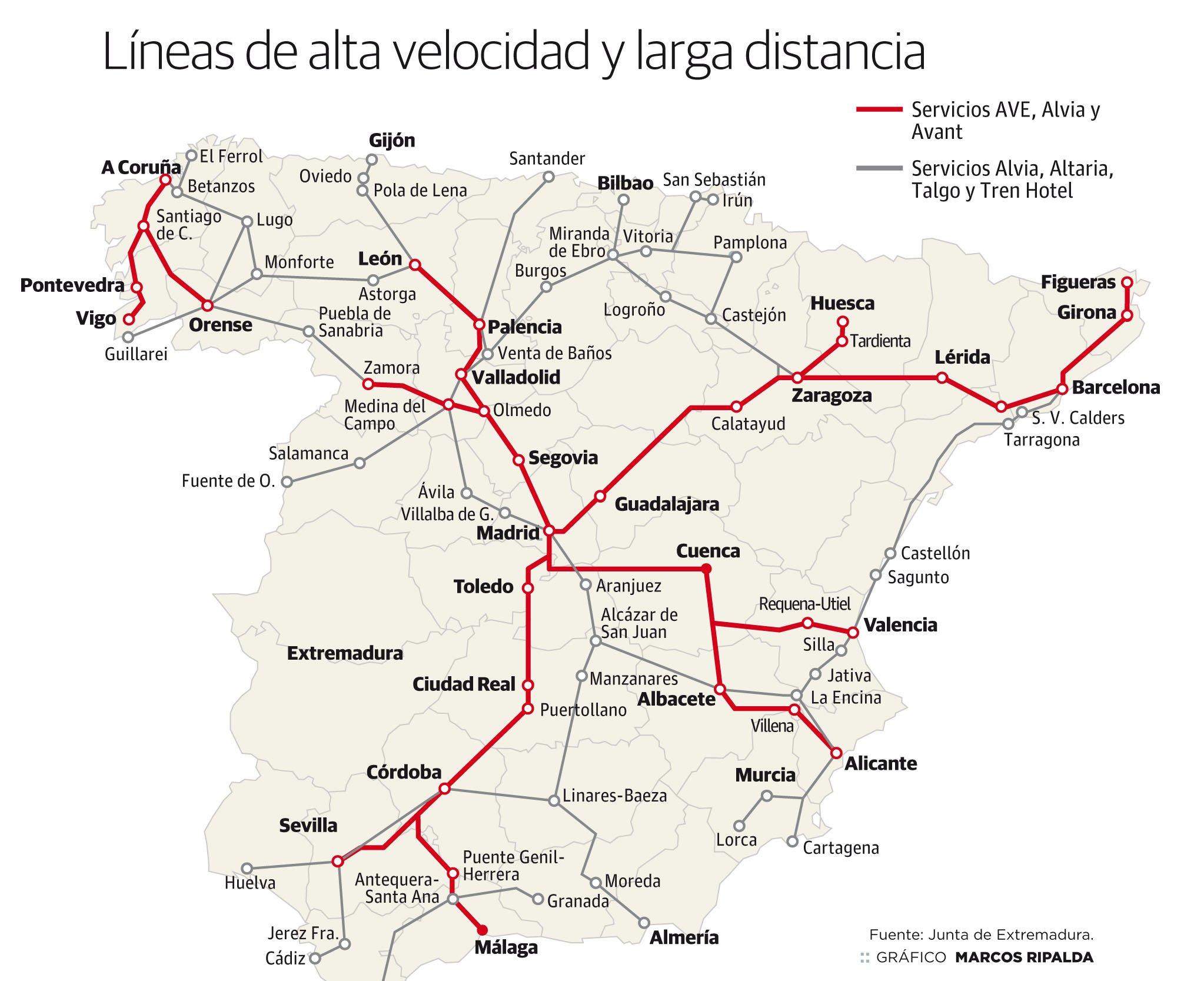 Mapa De Trenes España.Cuatro Claves Que Hacen Del Tren Extremeno El Peor De Espana